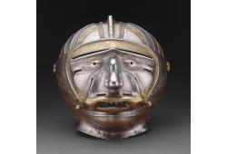 Close Helmet with Mask Visor in Form of a Human Face