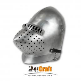 Bascinet with a visor Hounscull and steel gorget