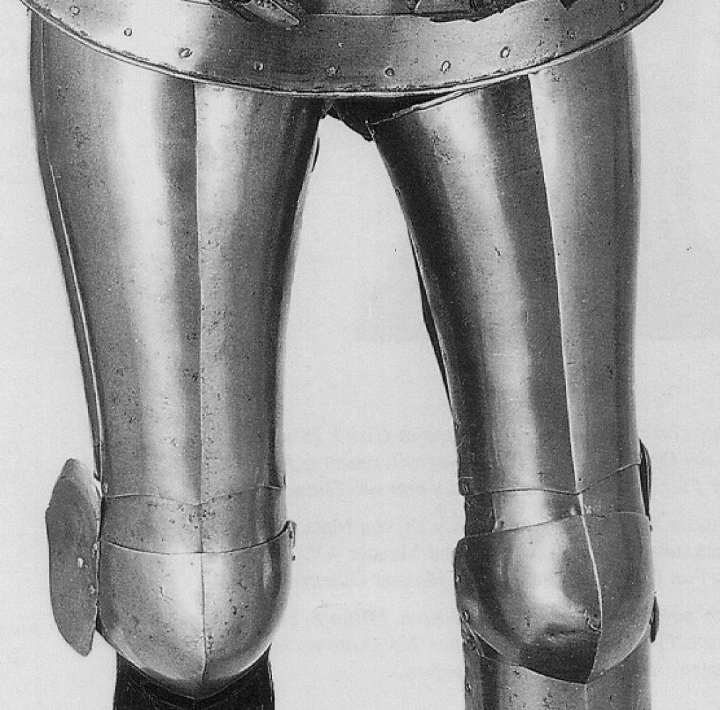 Plate legs with front greaves: Historical Sources Image